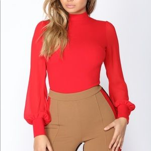 Abbie Chiffon Bodysuit - Fashion Nova